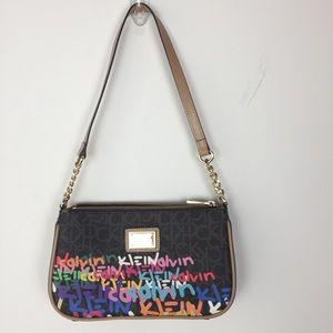 Calvin Klein Graffiti Purse Shoulder Bag Brown